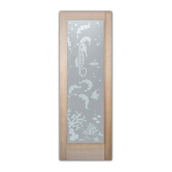 """Bathroom Doors - pd priv Interior Glass Doors Frosted Aquarium Seahorse - CUSTOMIZE YOUR INTERIOR GLASS DOOR!  Interior glass doors or glass door inserts.  .Block the view, but brighten the look with a beautiful interior glass door featuring a custom frosted privacy glass design by Sans Soucie! Suitable for bathroom or bedroom doors, there are no clear areas on this glass.  All surface areas are etched/frosted to be 100% opaque.  Note that anything pressed up against the glass is visible, and shapes and shadows can be seen within approx. 5-12"""" of the glass.  Anything 5-12"""" from the glass surface will become obscured.  Beyond that distance, only lights and shadows will be discernible. Doors ship for just $99 to most states, $159 to some East coast regions, custom packed and fully insured with a 1-4 day transit time.  Available any size, as interior door glass insert only or pre-installed in an interior door frame, with 8 wood types available.  ETA will vary 3-8 weeks depending on glass & door type........  Select from dozens of sandblast etched obscure glass designs!  Sans Soucie creates their interior glass door designs thru sandblasting the glass in different ways which create not only different levels of privacy, but different levels in price.  Bathroom doors, laundry room doors and glass pantry doors with frosted glass designs by Sans Soucie become the conversation piece of any room.   Choose from the highest quality and largest selection of frosted decorative glass interior doors available anywhere!   The """"same design, done different"""" - with no limit to design, there's something for every decor, regardless of style.  Inside our fun, easy to use online Glass and Door Designer at sanssoucie.com, you'll get instant pricing on everything as YOU customize your door and the glass, just the way YOU want it, to compliment and coordinate with your decor.   When you're all finished designing, you can place your order right there online!  Glass and doors ship worldwide, cu"""