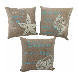 Zeckos - Set of 3 Beach Themed Accent Pillows 10 In. Nautical Seashell Decor - This set of 3 woven accent pillows is perfect for your beach house. Each pillow is made of a tan woven fabric and features an embroidered beach saying, a seashell, and hand beaded accents. They measure 10 inches by 10 inches, and are stuffed with polyester. They look great on a guest bed, or on couches and chairs, and the neutral colors are sure to complement most decor.
