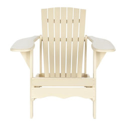Safavieh - Mopani Chair, Off White - Inspired by the original Adirondack chair designed in 1903, the off-white Mopani chair exudes modern rustic-chic charm.  Created for sitting back and enjoying conversation, its wide arm rest and deep slat back are crafted of sustainable acacia wood.