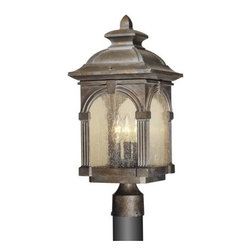 Vaxcel Lighting - Vaxcel Lighting OP38795RBZ Essex Traditional Outdoor Post Lantern Light - The Essex lantern collection boasts colonnades and arch work with a keystone integrated into the sculpted roof.