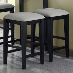 Monarch - Black Grain 24in.H Barstools With A Grey Fabric Seat - Set of 2 - The black grain colored backless barstools will look wonderful in your casual contemporary home. With a grey fabric padded cushion and sleek shaker legs, these stools are simple yet versatile.