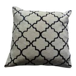 Crewel Fabric World - Crewel Bedding Irongate Black on White Cotton Duvet Cover, Euro Sham - Artisans in a remote mountain village in Kashmir crewel stitch these blossoms, vines and leaves by hand, resulting in a lush pattern of richly shaded wool yarns on Linen, Cotton, Velvet and Silk.