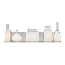 "LBL Lighting - LBL Lighting Lola Bath light - The Lola Bath light has been designed and made by LBL lighting. This wall light has an Avant-garde bath bar with a metal polished chorme base to show off the five perfume bottle-shaped opal glass shades resting on a frosted glass shelf. Each perfume bottle is topped with a decorative crystal detail. Mounts horizontally only. Includes 5 x G9 base 40W halogen lamps. cETL LISTED         Product Details: The Lola Bath light has been designed and made by LBL lighting.  This wall light has an Avant-garde bath bar with a metal polished chorme base to show off the five perfume bottle-shaped opal glass shades resting on a frosted glass shelf. Each perfume bottle is topped with a decorative crystal detail. Mounts horizontally only. Includes 5 x G9 base 40W halogen lamps. cETL LISTED Details:                         Manufacturer:            LBL Lighting                            Designer:            LBL Lighting                            Made in:            USA                            Dimensions:            Height: 8.9"" (22.6 cm)  X Diameter: 24"" (61.0 cm)                            Light bulb:            Includes 5 x G9 base 40W halogen lamps                            Material:            Metal, glass"