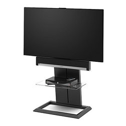 BDI - BDI | Totem TV Mount - Offering sleek but robust support for large flat panel TV's, the Totem Pedestal provides ideal television viewing height. Totem's steel column cleverly hides cables and wires from view, while keeping them easily accessible with a removable back panel. A fixed soundbar mounting bracket secures the soundbar just below the TV, while the swiveling universal TV mount provides a clear view anywhere in the room. A tempered glass shelf provides space for additional components. Support your television in modern style with the Totem TV Mount.Product Features:  Swiveling universal TV mount Fixed soundbar mounting bracket Cable management system conceal cables Removable back panel Tempered glass shelf Integrated levelers Optional additional glass shelf available