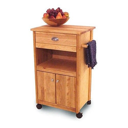 Catskill Craftsmen - Modified Cuisine Kitchen Cart with Butcher Block Top - This fine kitchen cart with butcher block features a domestic hardwood top, braces, legs, doors and drawers. Finely matched warp-resistant veneer sides, shelves and back panel finish out the sturdy construction. Locking caster wheels, oil finish and adjustable shelving are more of the features you will find. This cart can be a practical addition to your kitchen. Features: -Hardwood top.-Convenient storage drawer.-Open area/stationary middle shelf.-Cabinet with adjustable shelving.-Satin nickel handles, cabinet knobs and towel bar.-Locking casters.-Constructed from North American hardwood and veneers.-Natural oil finish.-Collection: Open/enclosed storage cart.-Distressed: No.-Country of Manufacture: United States.-Product Type: Kitchen Cart.-Base Finish: Natural Wood.-Counter Finish: Natural Wood.-Hardware Finish: Nickel plated.-Powder Coated Finish: No.-Gloss Finish: No.-Base Material: Yellow Birch.-Counter Material: Yellow Birch.-Hardware Material: Nickel plated.-Solid Wood Construction: No.-Stain Resistant: No.-Warp Resistant: No.-Exterior Shelves: Yes -Number of Exterior Shelves: 1.-Adjustable Exterior Shelving: No.-Number of Exterior Shelves: 1.-Adjustable Exterior Shelving: No.-Number of Exterior Shelves: 1.-Adjustable Exterior Shelving: No.-Number of Exterior Shelves: 1.-Adjustable Exterior Shelving: No..-Drawers Included: Yes -Number of Drawers: 1.-Push Through Drawer: No.-Drawer Glide Extension: No.-Dovetail Joints: No.-Drawer Dividers: No.-Drawer Handle Design: Cup.-Silverware Tray : No.-Number of Drawers: 1.-Push Through Drawer: No.-Drawer Glide Extension: No.-Dovetail Joints: No.-Drawer Dividers: No.-Drawer Handle Design: Cup.-Silverware Tray : No.-Number of Drawers: 1.-Push Through Drawer: No.-Drawer Glide Extension: No.-Dovetail Joints: No.-Drawer Dividers: No.-Drawer Handle Design: Cup.-Silverware Tray : No.-Number of Drawers: 1.-Push Through Drawer: No.-Drawer Glide Extension: No.-Dovetail Joints: No.-Drawer Dividers: No.-Drawer Handle Design: Cup.-Silverware Tray : No..-Cabinets Included: Yes -Number of Cabinets : 1.-Double Sided Cabinet: No.-Adjustable Interior Shelves: No.-Number of Doors: 2.-Magnetic Door Catches: Yes.-Locking Doors: No.-Door Handle Design: Cup.-Number of Cabinets : 1.-Double Sided Cabinet: No.-Adjustable Interior Shelves: No.-Number of Doors: 2.-Magnetic Door Catches: Yes.-Locking Doors: No.-Door Handle Design: Cup.-Number of Cabinets : 1.-Double Sided Cabinet: No.-Adjustable Interior Shelves: No.-Number of Doors: 2.-Magnetic Door Catches: Yes.-Locking Doors: No.-Door Handle Design: Cup.-Number of Cabinets : 1.-Double Sided Cabinet: No.-Adjustable Interior Shelves: No.-Number of Doors: 2.-Magnetic Door Catches: Yes.-Locking Doors: No.-Door Handle Design: Cup..-Towel Rack: Yes -Removable Towel Rack: Yes.-Removable Towel Rack: Yes.-Removable Towel Rack: Yes.-Removable Towel Rack: Yes..-Pot Rack: No.-Spice Rack: No.-Cutting Board: Yes.-Drop Leaf: No.-Drain Groove: No.-Trash Bin Compartment: No.-Stools Included: No.-Casters: Yes -Locking Casters: Yes.-Removable Casters: Yes.-Locking Casters: Yes.-Removable Casters: Yes.-Locking Casters: Yes.-Removable Casters: Yes.-Locking Casters: Yes