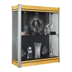 Waddell - Contempo Wall Display Case (Light Maple and Satin with White Panel) - The Waddell Contempo Display Cases bring a modern style into your space. Design surrounds a clean, seamless front to parade your prized possessions in high style.