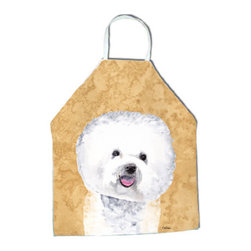 """Caroline's Treasures - Bichon Frise Apron SC9135APRON - Apron, Bib Style, 27""""H x 31""""W; 100% Ultra Spun Poly, White, braided nylon tie straps, sewn cloth neckband. These bib style aprons are not just for cooking - they are also great for cleaning, gardening, art projects, and other activities, too!"""