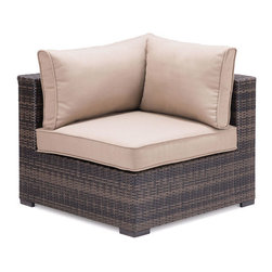 """Zuo - Bocagrande Outdoor Corner Chair - The Bocagrande Corner Chair is part of a transitional set with a low profile.  The brown synthetic weave is great for all types of weather conditions and the lightweight, but durable aluminum frame makes it easy to configure the pieces for any space.  The weaving features an ombre pattern giving a fresh spin on a classic set.  The overstuffed cushions are included and are comfy enough to enjoy long hours of visiting with friends or kicking back for an outdoor nap.  Keep it simple and neutral or spice things up by adding pops of color with outdoor throw pillows.  The Bocagrande outdoor collection includes a corner chair, middle chair, ottoman and coffee table """"��_ each sold separately."""