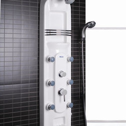 Ariel Bath - Ariel A115 Lucite Acrylic Shower Panel White - Ariel Shower Panels are fully loaded with Jets for Full Body Massage, Handheld and Rainfall Showerhead for Ultimate Experiences to greatly increase your therapeutic experience.