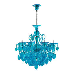 Kathy Kuo Home - Bella Vetro Light Blue Aqua Murano Glass 8 Light Ornament Chandelier - Too much is never enough!  From the blown glass droplets hanging like fruit to the  faceted glass swags to the curved upswept arms and beyond - rarely do  eight bulbs illuminate such an abundance of craft and embellishment.  This piece will gladly take the spotlight in any traditional space.