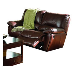 Coaster - Coaster Clifford Double Reclining Loveseat in Brown Leather Match - Coaster - Recliners - 600282 - This Double Reclining Loveseat by Coaster comes in beautiful brown leather match. This durable and comfortable motion sofa features padded arms, rocker recliner and kidney support back. It features hardwood frame, sinuous spring base, webbing in the back.