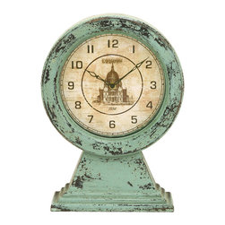 Benzara - Old Look London Themed Table Top Clock - The clock face is perfectly circular with classic 19th century London building decorating the center. Made with aged sky blue wood that resembles, this table top clock will enjoy a long life of time keeping. Keep it in the home office or even on the kitchen counter, for a fabulous reminder of the wonders of London, England.