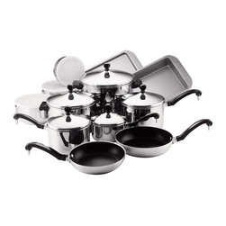 "Farberware Cookware - Farberware Classic Stainless Steel 17 Pc. Set - Farberware Classic Series 17 piece cookware & bakeware Set includes 1 qt., 2 qt. and 3 qt. Covered saucepans, 4 qt. Covered saucepot, 8 qt. covered stockpot 8"" and 10"" nonstick aluminum skillets, 3 piece bowl set, 9"" x 13"" cooking sheet, 9"" x 13"" rectangular cake pan. Note: 8"" and 10"" skillets are not suitable for ceramic stove tops."