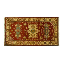 Thick & Plush 3'X5 Brick Red Tribal Kazak 100% Wool Hand Knotted Area Rug SH6162 - This collections consists of well known classical southwestern designs like Kazaks, Serapis, Herizs, Mamluks, Kilims, and Bokaras. These tribal motifs are very popular down in the South and especially out west.
