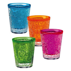 Evergreen - Acrylic Double Wall Gel Freezer Shot Glasses - Break the ice at your next get-together with our incredible multi colored freezer shot glasses! The coolest way to enjoy your favorite shots, our indispensable double wall gel freezer glasses will liven up any event and impress your family and friends. Perfect for a girl's night or outdoor party, our ultra durable colored shot glasses are crafted with the finest acrylic. Whether you are looking to add a touch of color to every day decor, or serving some whiskey, entertaining will come easily when you have this lovely set of shot glasses in hand! Place in freezer for 1 hour before use for a super cool drink. * Set of 4 * Dimensions: