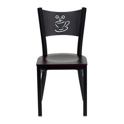 Flash Furniture - Flash Furniture Hercules Series Black Back Metal Chair in Mahogany - Flash Furniture - Dining Chairs - XUDG60099COFMAHWGG - Provide your customers with the ultimate dining experience by offering great food service and attractive furnishings. This heavy duty commercial metal chair is ideal for Restaurants Hotels Bars Lounges and in the Home. Whether you are setting up a new facility or in need of a upgrade this attractive chair will complement any environment. This metal chair is lightweight and will make it easy to move around. This easy to clean chair will complement any environment to fill the void in your decor. [XU-DG-60099-COF-MAHW-GG]