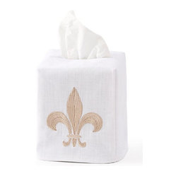 Jacaranda Living - Tissue Box Cover, Fleur-de-lis Beige - A lovely fleur-de-lis, embroidered in beige against a white background, is the focal point of this regal tissue box cover. This simple yet memorable, linen tissue box cover was made by Zulu women in South Africa, in a socially responsible environment. This is an elegant cover that you can feel good about, every time you reach for a tissue.