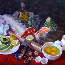 "Trisha Selgrath Fine Art - Food for Thought, LE Print on Canvas - ""The foods depicted in this still life are brain boosters. I was invited to participate in a museum show entitled Food for Thought and had nothing to exhibit so I researched foods good for the brain and created this composition. I hadn't done still lifes in about a decade and this piece was pivotal in luring me back to the genre."" - Trisha Selgrath"