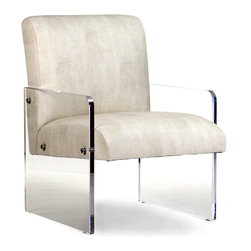 Emile Acrylic Chair - Responsive to the ideals of transitional minimalism but old-world in its craftsmanship and comfort, the Emile Acrylic Chair has all the inviting softness of a fully upholstered armchair, but its aesthetic eschews heavy lines in favor of clarity and light.  The thick, clear acrylic walls bolted to the simple seat serve as both legs and arms for an updated look and feel.