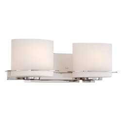 Nuvo - Two Light - Vanity Fixture - Polished Nickel Finish with Etched Opal Glass - Shade: Etched Opal Glass.  Bulb Info: 2 x 100W Medium Base A19 Incandescent (Bulb Not Included).  Style: Contemporary.  UL Certified: Damp Location.  . Color/Finish: Polished Nickel. 7.13 in. L x 18.75 in. W x 6.25 in. H (8.31 lbs)The Loren collection finished in venetian bronze or polished nickel and accented by etched opal glass or white linen shades, features unique chandeliers, pendants and vanities.  The venetian bronze finish adds a bold country look to kitchens, dining, living areas and baths where the polished nickel finish which is decidedly contemporary, has an upscale look which adds to an already elegant design.  The Loren collection finds itself at home anywhere a distinctive design touch and soft task or ambient lighting is needed.
