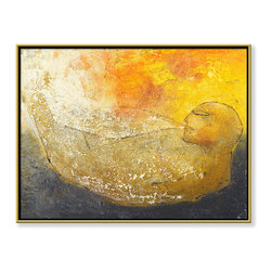 """CHC Art, Inc - Dreaming, 36""""x48"""", Hand Embellished Giclee - The presence of a figure with bowed head suggests a calm and peaceful emotion. The pose can be interpreted as restful between night and day, as the color suggests. The imagery also has a transformative quality of jovial to sorrowful.- Hand Embellished Giclee.- Gold floater frame with dark espresso edges.- Ready to hang.- Frame adds 1.75"""" to each image dimension.- Made in the USA."""