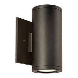 """CSL - Silo Dual Bronze 6 1/2"""" High ADA Outdoor Wall Light - This contemporary outdoor wall light offers smart styling and a sleek compact design. This piece starts with aluminum construction and is presented in a gorgeous bronze finish. The Silo Dual wall light offers uplight and downlight via two brilliant halogen bulbs. This attractive design is a great choice for adding light and style to your exterior. Bronze finish. Aluminum construction. Rated for wet locations. ADA compliant. Includes two 35 watt halogen bulbs. 6 1/2"""" high. 3"""" wide. Extends 3 1/2"""" from the wall. Backplate is 4 1/2"""" square.  Bronze finish.   Aluminum construction.   Rated for wet locations.   ADA compliant.   Design by Creative Systems Lighting.  Includes two 35 watt halogen bulbs.   6 1/2"""" high.   3"""" wide.   Extends 3 1/2"""" from the wall.   Backplate is 4 1/2"""" square."""