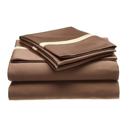 "Hotel Collection Cotton 300 Thread Count King Sheet Set Mocha/Honey - A hotel luxury way to decorate your bedroom with a 300 Thread Count Sheet Set. The perfect complement to a guest bedroom or master suite! These 300 thread count sheets of premium long-staple cotton are ""sateen"" because they are woven to display a lustrous sheen that resembles satin. Coordinate with our Hotel Collection Duvet Cover Sets and Bed-skirts! Set includes One Flat Sheet 108x102, One Fitted Sheet 78x80, and Two Pillowcases 20x40 each."