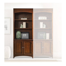 Hooker Furniture - Latitude Bunching Bookcase - White glove, in-home delivery included!  Furniture assembly included!  The luxurious Latitude collection is crafted using hardwood solids and walnut veneers.  Two adjustable shelves, two doors with one adjustable shelf behind.
