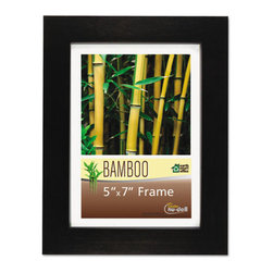 NuDell - NuDell Bamboo Frame, 5 x 7, Black - Strong, quality-constructed bamboo desktop picture frame rivals the strength of hardwood. Satin finish frame is made from sustainable and recyclable bamboo. Proudly display your photos, awards, certificates and documents in this modern frame, that adds style and elegance to your space. Deluxe color-match backing locks your photos and documents in place. Sturdy, no slip easel prevents sliding when displayed on desks, counters and shelves in landscape or portrait position. A clear unbreakable plastic cover protects the contents from dust and fingerprints.