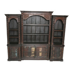 MOTI Furniture - Pampa 3 Piece Display Bookcase with Old Doors - 95008014 - Pampa Collection Book Case