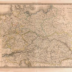 Consignment Original Antique Map of Germany & Austria, 1838 - Extraordinary original antique engraving of Germany and Austria showing multitude of kings, dukes, princes and free states ruling over Germany as seen in index lower left. Map with original hand-colored outline from 1838. Over 175 years old. Great detail, a must for collectors.