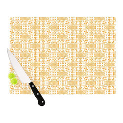 "Kess InHouse - Apple Kaur Designs ""Diamonds"" Yellow Squares Cutting Board (11"" x 7.5"") - These sturdy tempered glass cutting boards will make everything you chop look like a Dutch painting. Perfect the art of cooking with your KESS InHouse unique art cutting board. Go for patterns or painted, either way this non-skid, dishwasher safe cutting board is perfect for preparing any artistic dinner or serving. Cut, chop, serve or frame, all of these unique cutting boards are gorgeous."