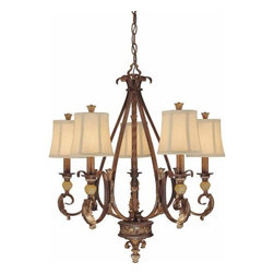Volume Lighting - Volume Lighting V3245 Venetian 5 Light 1 Tier Chandelier - Five Light 1 Tier Chandelier from the Venetian CollectionFinished in a timeless heirloom umber, this 5 light chandelier features 1 tier and lovely champagne glass.Features: