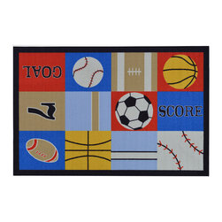 None - Children's Sports Design Multicolor Area Rug (5' x 6'6) - The Children's Sports Design non-skid, rubber-backed area rug features children's education and novelty designs that are sure to uplift any space. This inviting area rug offers a durable construction for years of use, and a bright color palette.