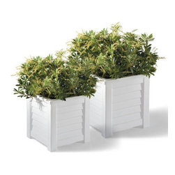Grandin Road - Lakeland Square Planter - All-weather planter with shutter-style details. Crafted from double-walled polyethylene. Crack-, chip-, peel- and UV-resistant. Built-in self-watering system prevents over-watering and makes it possible to water less frequently. Simply hose off to clean. Spruce up your porch, patio or threshold with our easy-care shutter-style Lakeland Planter. This weather-defying planter is molded from double-walled polyethylene with the classic look of wood paneling, and a self-watering system that makes it possible for you to water as little as once a week.  .  .  .  .  . A Grandin Road exclusive. Made in the USA.