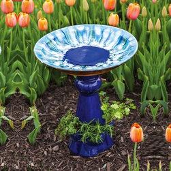 Evergreen Enterprises - Blue Speckles Birdbath - Reactive Glaze Birdbath with Pedestal Planter, Ceramic.