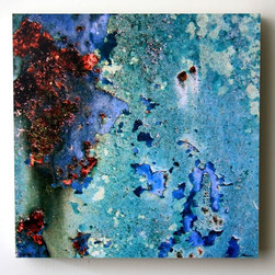 """Blue Rust, 10X10 Wood Panel, Photography"" Artwork - This fine art photograph of rust and peeling paint on the side of a water tank is printed on matte archival photo paper, then mounted on a 10x10 wood panel.  1.5"" white sides.  sealed with clear acrylic sealer.  signed and titled.  original photo by doug hockman photography.  custom sizes available.  photo title: blue rust panel size: 10x10"