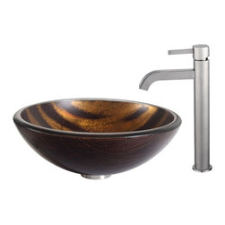 Kraus - Kraus Bastet Glass Vessel Sink and Ramus Faucet Satin Nickel - *The warm coppery tones and contrasting dark brown stripes of the Bastet sink have a soft sheen; running water turns the matte exterior to a vibrant, shiny surface. Pair it with the minimalist form of the Ramus faucet in satin nickel for a look of refined simplicity