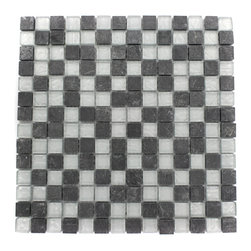 """Geological Squares Black Slate & Silver Glass Tiles - Geological Squares Black Slate + Silver Glass Tiles 3/4 x 3/4 This striking square design has a combination of black slate and metallic silver glass. These mesh mounted and will bring a sleek and contemporary clean design to any room. Chip Size: 3/4 x 3/4 Color: Black and Metallic Silver Material: Slate and Glass Finish: Frosted and Polished Sold by the Sheet - each sheet measures 12""""x12x (1 sq. ft.) Thickness: 8mm"""