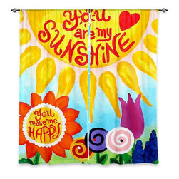 "DiaNoche Designs - Window Curtains Unlined - nJoyArt You Are My Sunshine Floral - Purchasing window curtains just got easier and better! Create a designer look to any of your living spaces with our decorative and unique ""Unlined Window Curtains."" Perfect for the living room, dining room or bedroom, these artistic curtains are an easy and inexpensive way to add color and style when decorating your home.  This is a tight woven poly material that filters outside light and creates a privacy barrier.  Each package includes two easy-to-hang, 3 inch diameter pole-pocket curtain panels.  The width listed is the total measurement of the two panels.  Curtain rod sold separately. Easy care, machine wash cold, tumbles dry low, iron low if needed.  Made in USA and Imported."