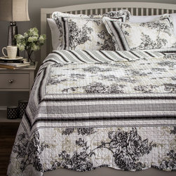 None - Slumber Shop Emory 3-piece Reversible Quilt Set - This beautiful black and white quilt is sure to complement your decor. Made of quality material,it is as durable as it is comfortable.