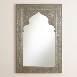 Sana Mehrab Mirror - Architectural interest abounds in this large, intricate mirror. The shape is eye-catching, while the floral motif is full of mesmerizing detail.