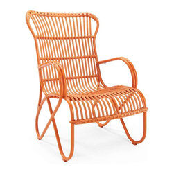 Rizza Outdoor Chair, Orange - Classic bentwood chairs in every color are must-haves for any backyard garden.