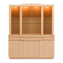 """Skovby - Skovby Buffet SM 303 and Hutch SM 354 - Skovby Buffet SM 303 and Hutch SM 354Classic, capable, and comfortable - three words that ably describe this buffet and hutch combination. With a 3-drawer design that gives interest to the front of the buffet, Skovby's dining room set piece is sure to be a conversation starter without monopolizing your room's design. Five shelves round out the storage capacity of this fine piece of dining room furniture. The hutch features glass doors and shelves, and halogen lighting to showcase your fine china or collectibles.Features:Overall: 76"""" h x 65"""" w x 19"""" dBuffet has five shelves behind three doors; 3 drawers hold smaller items such as silverwareHutch has four tempered glass doors and two tempered glass shelvesFour halogen lights illuminate the interior of the hutchA variety of wood veneer optionsPairs well with the Skovby DC 05 and SM 14 dining tablesForms the base of the Skovby Buffet SM 303 and Hutch SM 354 combination unit.In stock in the following colors:Lacquered Teak VeneerCall us at ("""