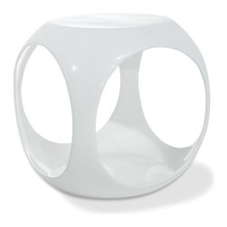 Office Star - Office Star Avenue Six Slick Cube Occasional Table in White Finish - High gloss, molded table with internal storage area for magazines, books and more. The avenue six Slick cube table offers the latest look in home fashion. Available in a variety of colors.