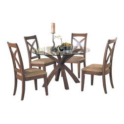 Homelegance - Homelegance Star Hill 5-Piece Round Glass Dining Room Set in Cherry - Enhance your personal style with this clean and stylish dining table and chairs. Rectangular table is ideal for entertaining while round table encourages conversation, prefect for today's buyer. Available in cherry finish.