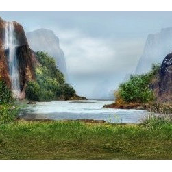 Limitless Walls - Hidden Paradise With Waterfall Wal Mural - Safe for your walls, our wall murals are completely removable and repositionable without damaging your walls or paint. We print on a luxurious 14 mil adhesive backed canvas giving our wall murals a pristine look. The canvas is thick and tough making it easy to install and creating a superb layer of protection for your walls. Our wall murals are green and P.V.C. free.