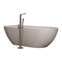 ADM - ADM White Stand Alone Solid Surface Stone Resin Bathtub, White, Small - SW-110