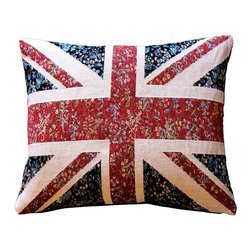 Pillow Decor - Pillow Decor - United Kingdom Flag Tapestry Throw Pillow 15 x 19 - This bold UK flag pillow is an authentic French tapestry weave. This British flag is wonderfully blended with a faint floral design in the background. From a few paces away this makes the pillow look vintage. Up close, the French tapestry weave and flavor come to life.
