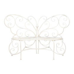 For Your Garden - Butterfly Garden Bench - Your garden can become a relaxing oasis with help from this beautiful butterfly bench.  Place it near fragrant flowers, beautiful blooms, or even on your patio as a pretty perch that welcomes you to rest for a while.  It's also a addition inside your home!  Set it in the entry way for a convenient seat when you put on your shoes or use it in any room as a display stand for your favorite potted plants.  Max. weight capacity 440 lbs.  Item weight 334.4 ounces.  Due to the size and weight of this item, we are ONLY able to ship within the Continental United Sates to physical address locations, and only via UPS ground.  Some Assembly Required.